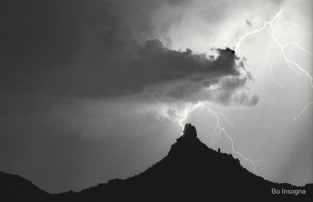 Lightning Bolt Hitting Pinnacle Peak B&W by Bo Insogna