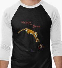 Calvin and Hobbes style Negan and Shiva Cartoon Print Walking Dead Men's Baseball ¾ T-Shirt