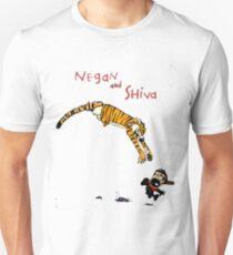 Calvin and Hobbes style Negan and Shiva Cartoon Print Walking Dead Unisex T-Shirt