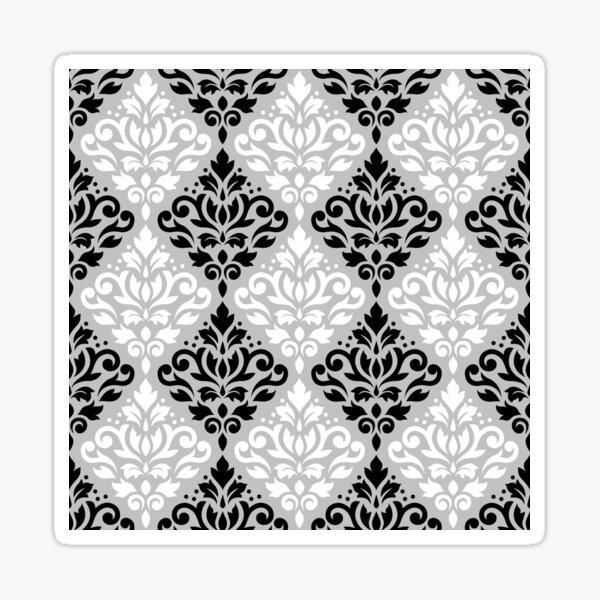 Scroll Damask Ptn B&W on Gray Sticker