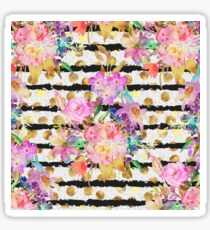 Elegant spring flowers and stripes design Sticker