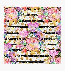 Elegant spring flowers and stripes design Photographic Print
