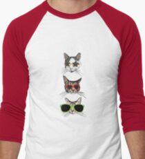 Cats Wearing Glasses Men's Baseball ¾ T-Shirt
