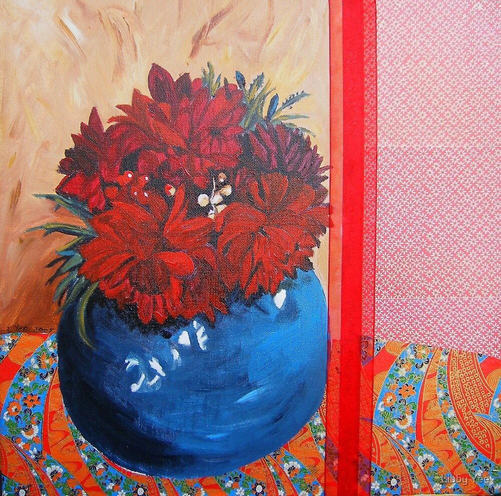 dahlias in blue bowl by Libby Yee