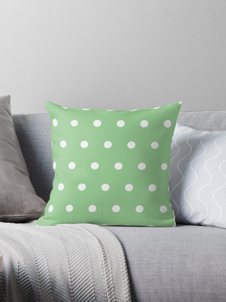 Fantastic Granny Smith Apple Pale Green White Polka Dots Throw Pillow By Patternplaten Machost Co Dining Chair Design Ideas Machostcouk