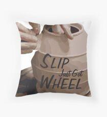 Slip Just Got Wheel Throw Pillow