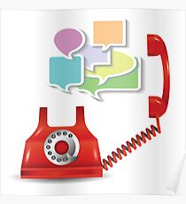 red telephone and speech bubbles Poster