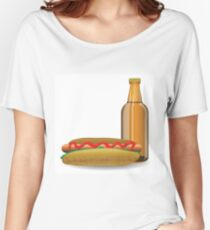 hot dog and bottle of beer Women's Relaxed Fit T-Shirt