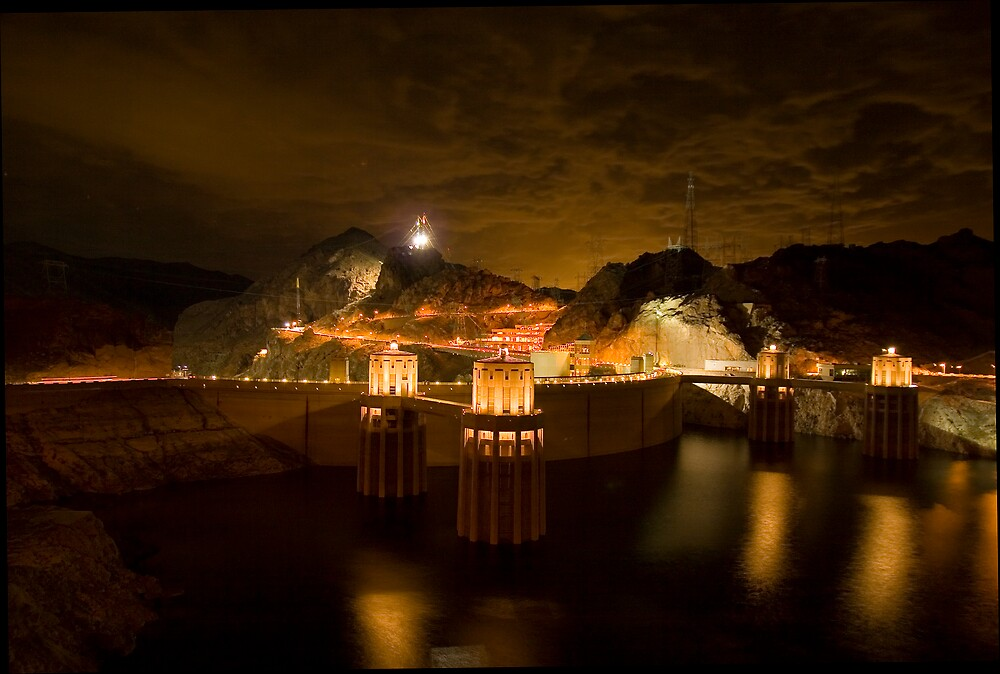 Hoover Dam Nightworks. March, 2006 by David Collopy