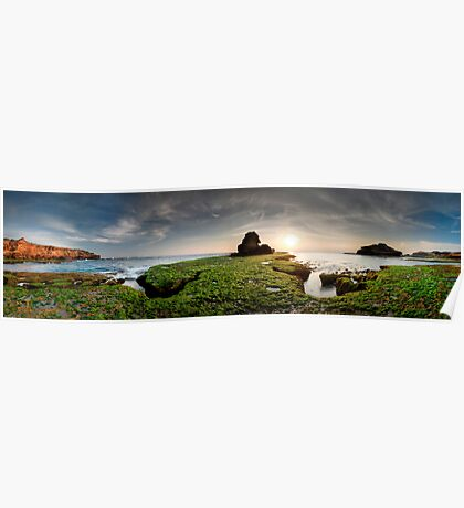 Green Rock Shelf Pan Poster
