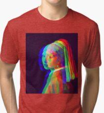 g i rl w1th a Pe4rl. Tri-blend T-Shirt