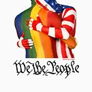 We The People (to print on dark colors) by Love Is Love Art by Robin Slonina