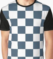 Dusky Blue Checkers Pattern Graphic T-Shirt