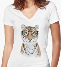 Clever Tiger Women's Fitted V-Neck T-Shirt