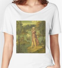 Girolamo Dai Libri - Woman Standing At Waters Edge Women's Relaxed Fit T-Shirt