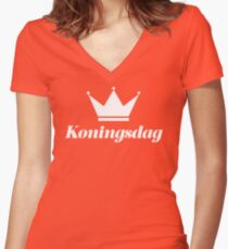 Koningsdag Crown 2017 - King's Day Netherlands Celebration Nederland Women's Fitted V-Neck T-Shirt