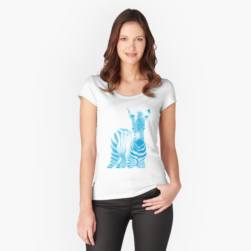 Zebra 02 Tailliertes Rundhals-Shirt für Frauen Vorne