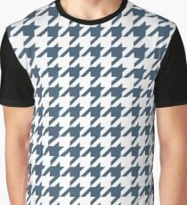 Dusky Blue Houndstooth Pattern Graphic T-Shirt