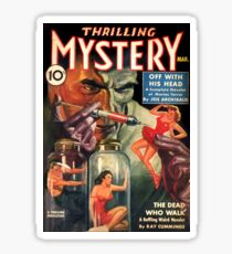 Vintage Thrilling Mystery Mad Scientist Pulp Fiction Sticker