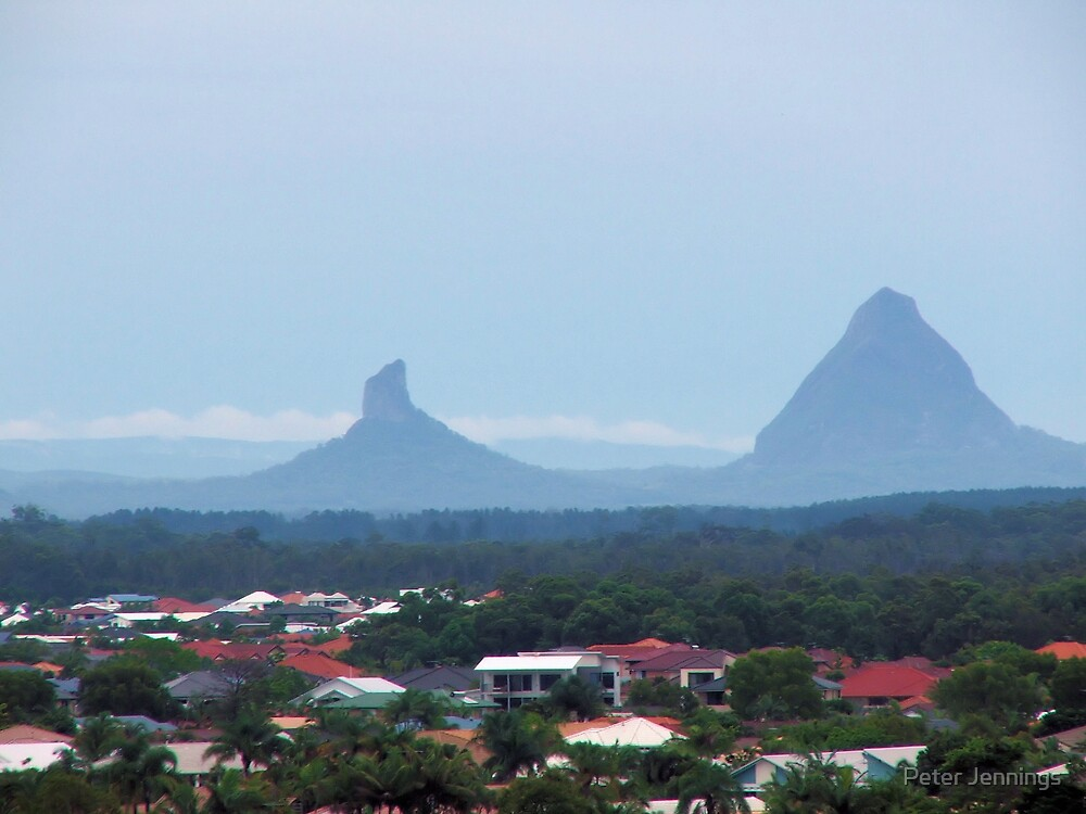 Glass house mountains by Peter Jennings