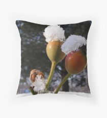 Rose Hips in Snow Throw Pillow