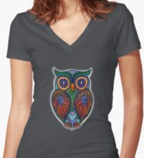 Ornate Owl 8 Women's Fitted V-Neck T-Shirt