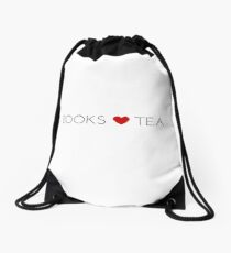 Books Love Tea Black Lettering with Red Heart Drawstring Bag