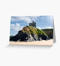 old historic Ballybunion castle on a cliff edge Greeting Card