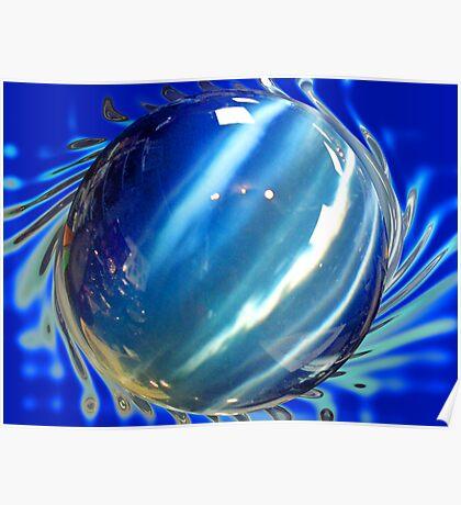 Big Blue Spinning Ball Poster