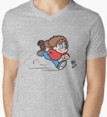 Running child cartoon #1 Mens V-Neck T-Shirt