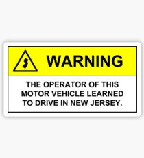 New Jersey Driver Warning Sticker