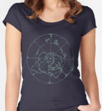 Azimuthal Equidistant Map Zetetic Astronomy Flat Earth Map,  Women's Fitted Scoop T-Shirt