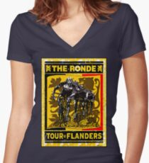 TOUR OF FLANDERS: Vintage Bicycle Racing Print Women's Fitted V-Neck T-Shirt