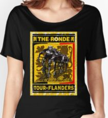 TOUR OF FLANDERS: Vintage Bicycle Racing Print Women's Relaxed Fit T-Shirt