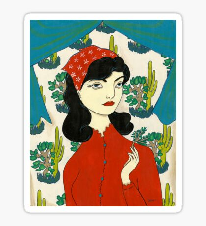 Girl with Cacti Sticker