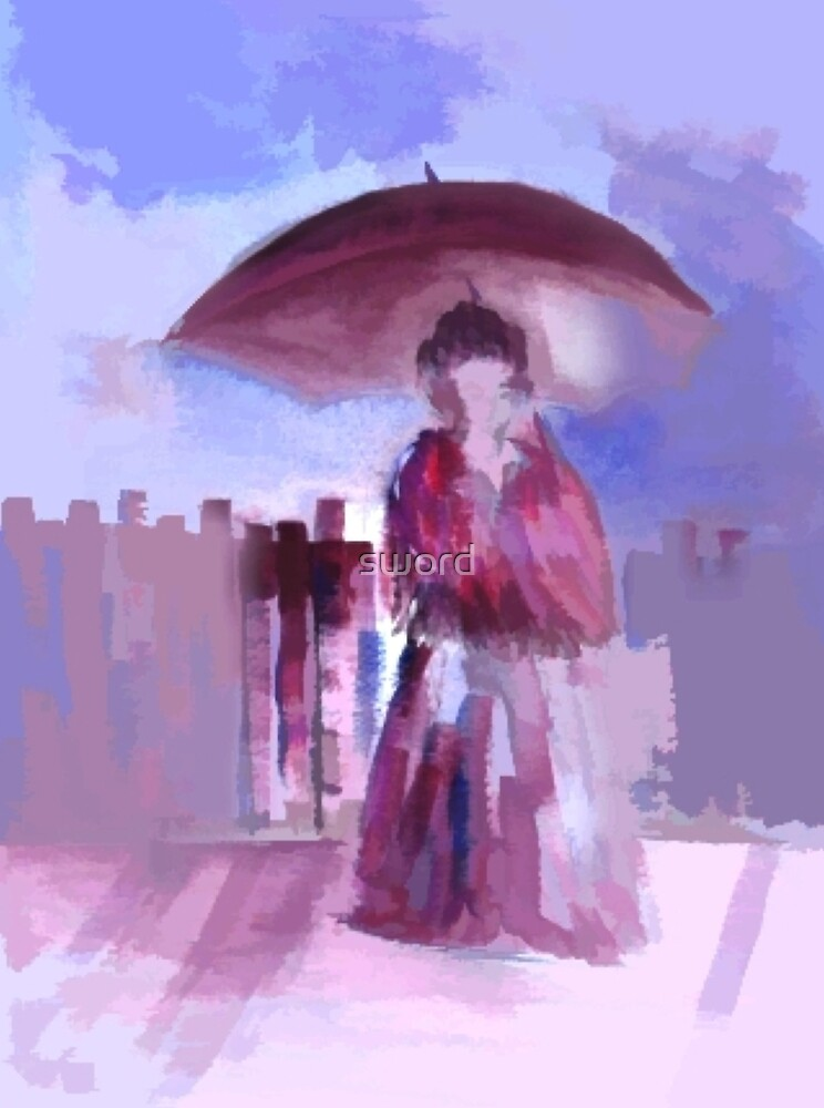 Girl with an umbrella by sword