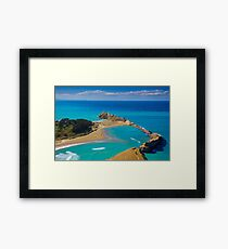 White lighthouse, location - Castlepoint, New Zealand Framed Print