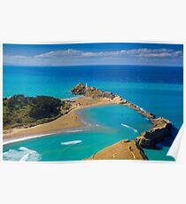 White lighthouse, location - Castlepoint, New Zealand Poster