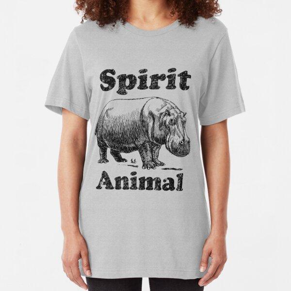 Jungle Spirit Animal- Hippo Slim Fit T-Shirt