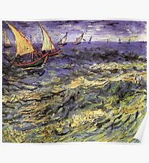 Seascape at Saintes-Maries by Vincent van Gogh. Landscape fine art oil painting. Poster