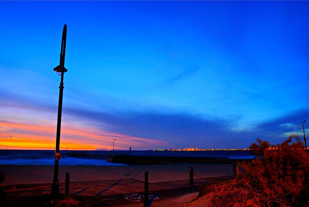 Walking the dog tonight along St Kilda beach by Melinda Kerr