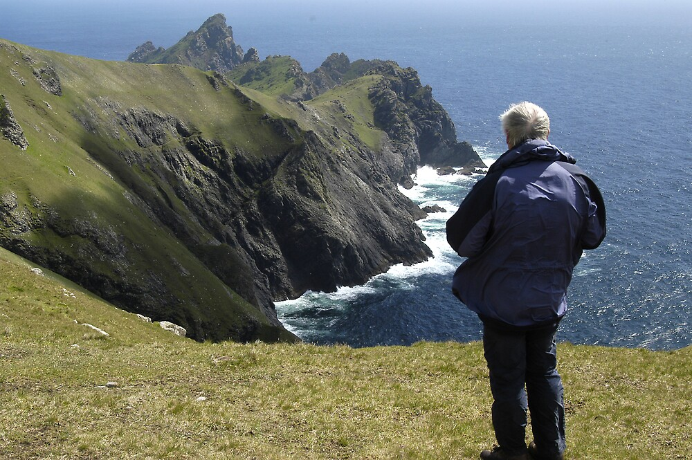 Sea and rock, with Brian,St Kilda by JimWhitham