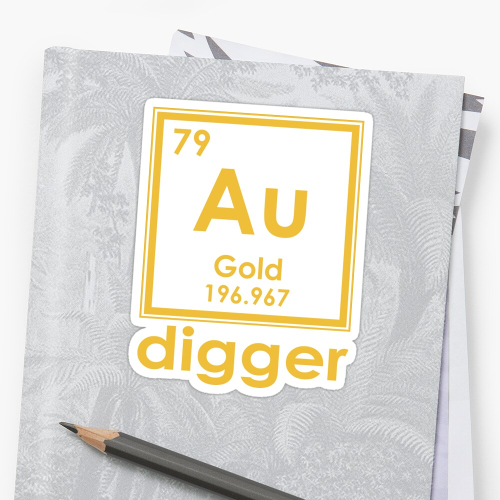 gold digger au 196967 periodic table of elements design by nvalleydesign - Au Periodic Table Of Elements