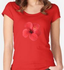 Scarlet Hibiscus Tropical Flower  Women's Fitted Scoop T-Shirt