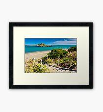 Island and the coast. Location: New Zealand Framed Print