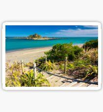 Island and the coast. Location: New Zealand Sticker