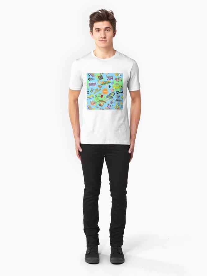 Vista alternativa de Camiseta ajustada ¡Nicktoons hawaiano Print-a-Palooza!