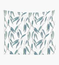 Eucalyptus leaves on white Wall Tapestry