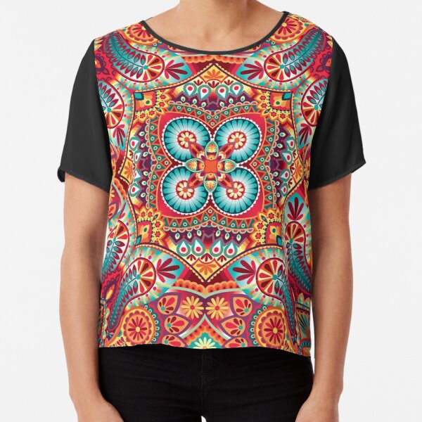 Paisley vintage oriental kerchief ornament design Chiffon Top