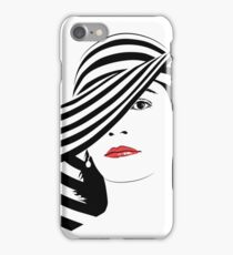 Girl with dark hair in big striped hat  iPhone Case/Skin